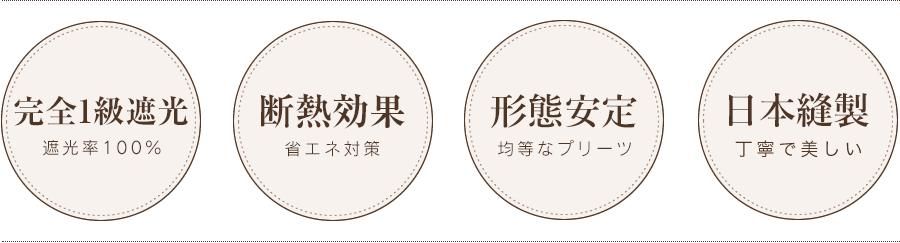 完全1級遮光 遮光率100% 断熱効果 省エネ効果 形態安定 均等なプリーツ 日本縫製 丁寧で美しい