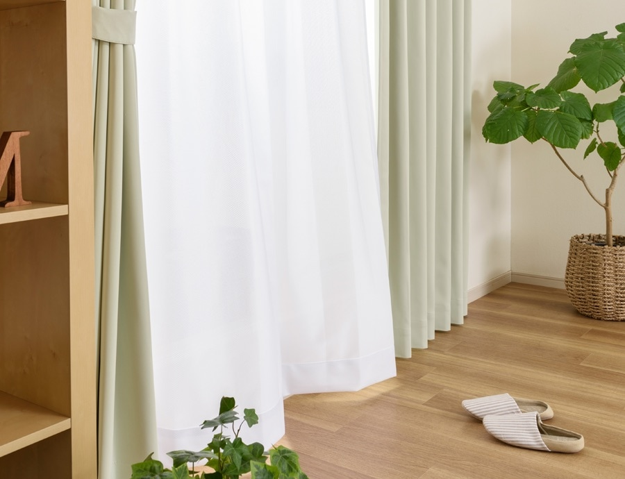 どんな部屋にも合わせやすいシンプルな無地遮光カーテン 防炎1級遮光カーテン おまとめ レースセット 24Colors