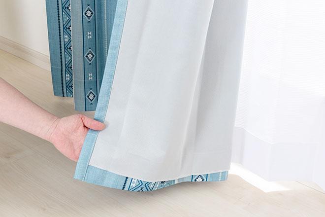 遮光裏地付きビンテージ風イカット柄3級遮光カーテン キリム
