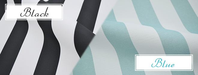白黒と白青のボーダー柄ストライプ2級遮光カーテン エバー