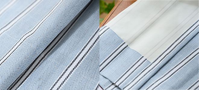 爽やかなブルーのへリンボーン柄完全1級遮光カーテン シェーン