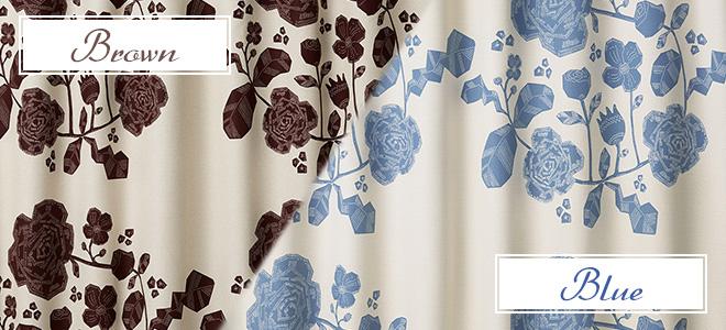 花冠の柄がおしゃれな2級遮光カーテン アンベリール