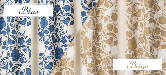草花と小鳥がかわいい2級遮光カーテン ピトレスク