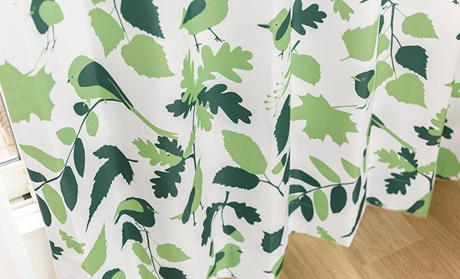 北欧デザイナー'S コレクション 小鳥とリーフ柄プリントの2級遮光カーテン アスト
