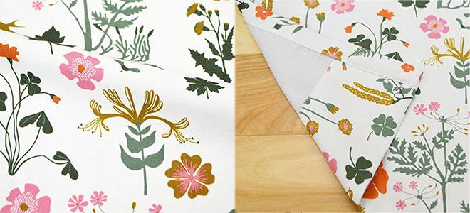 北欧デザイナー'S コレクション 草花柄プリント2級遮光カーテン ミラ