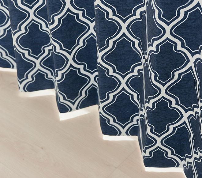 モロッコタイルのような大胆な幾何柄の2級遮光カーテン リッコ
