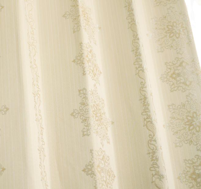 上品なオーナメント柄が美しいジャガード遮光率100%完全1級遮光カーテン アビー
