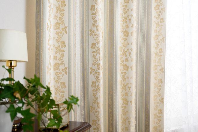 花柄ストライプのジャガード織カーテン遮光率100%完全1級遮光カーテン ロイヤル