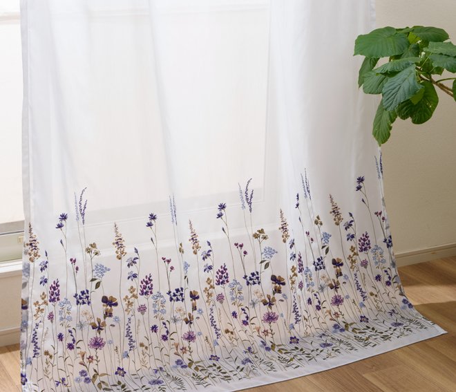 色とりどりの草花が立ち並ぶおしゃれな刺繍ボイルレースカーテン フィール