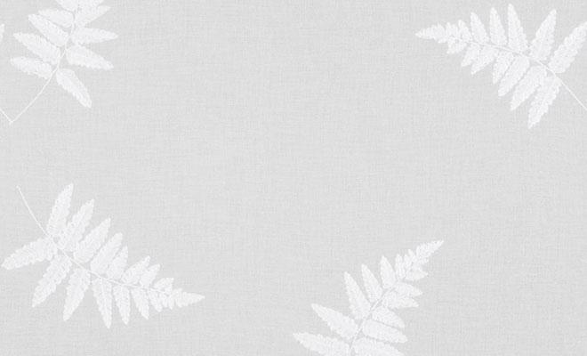 シダ植物の葉脈を刺繍したボイル刺繍レースカーテン シャリテ