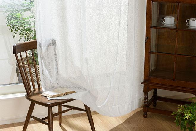 花粉・ホコリを除去するFCOT(花粉キャッチ)の無地レースカーテン ダフネ