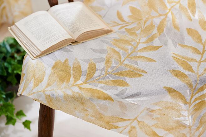シダの葉をオパールプリントで表現したレースカーテン エルリー