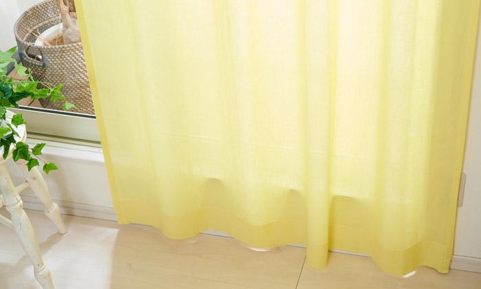 麻混レースカーテン パウダー