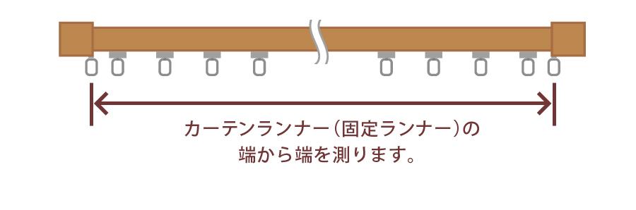 カーテンランナーの端から端を測ります。